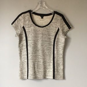 Ann Taylor | Short Sleeve Top Black and Cream | M